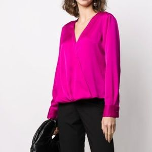 DKNY pink bench wrap blouse